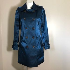 Joan Rivers trench coat jacket blue small belted